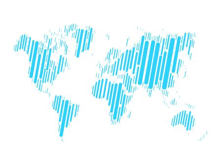 cross hatched: World map mosaic of blue blocks with rounded corners on white background. Vector map of the World. Modern background world design.