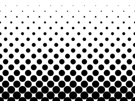 Halftone background of black dots on white background. Gradient of large dots at the bottom and smaller dots at the top of illustration.