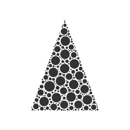 chrismas: Simple abstract chrismas tree of dots, or circles, in a triangle shape. Black illustration on white background.