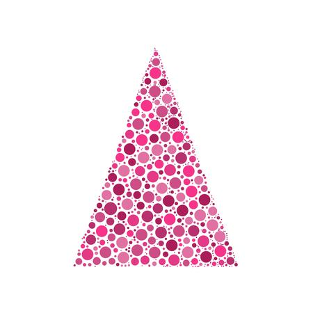 chrismas background: Simple abstract chrismas tree of dots, or circles, in a triangle shape. Black illustration on white background.