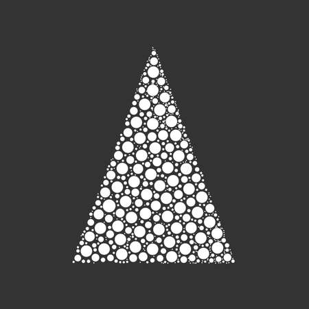 chrismas: Simple abstract chrismas tree of dots, or circles, in a triangle shape. Looks like pyramyd of snow balls. White illustration on grey background.