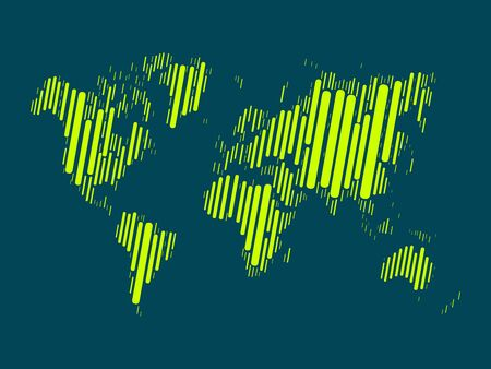cross hatched: World map mosaic of highlighted green blocks with rounded corners on dark blue background. Vector map of the World. Modern background world design. Illustration