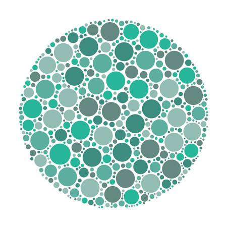 azure: Circle made of dots in shades of azure. Abstract vector illustration inspired by medical Ishirara test for color-blindness.