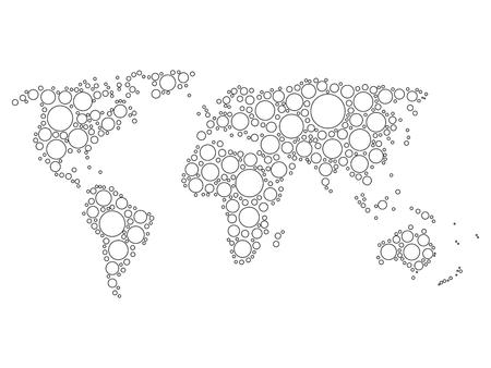 World Map Mosaic Of White Dots With Black Outline In Various - World map black and white outline