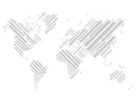 full size: World map mosaic of grey blocks with rounded corners on white background. Vector map of the World. Modern light background world design.