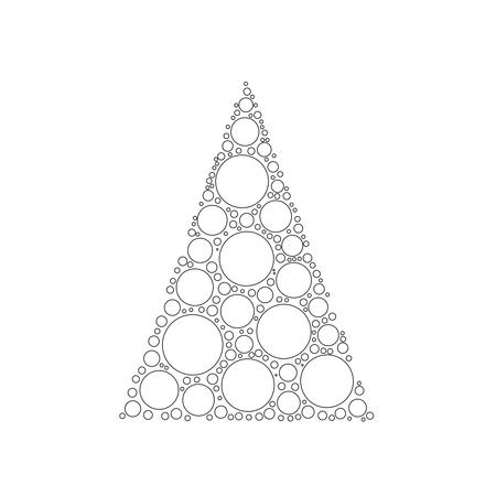 Simple abstract chrismas tree of dots, or circles, in a triangle shape. White circles with black outline on white background. Illustration