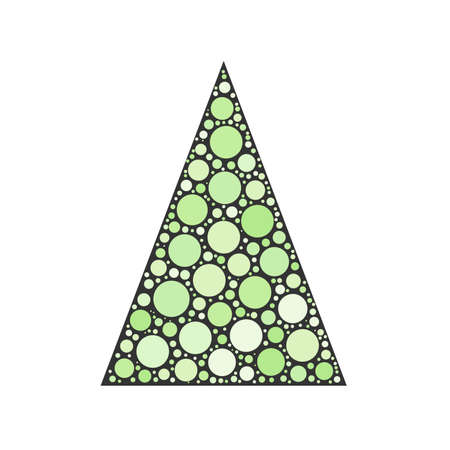 chrismas card: Simple abstract chrismas tree of green dots, or circles, in a grey triangle shape.