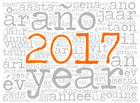 feliciter: Word cloud 2017. The word Year is in many different languages. Typewriter font with orange highlighted year number and light background.