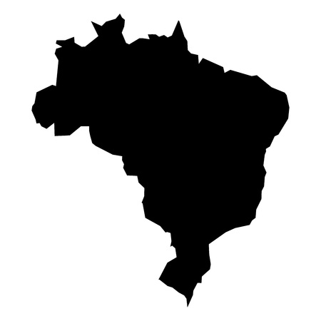 simplified: Black simplified flat silhouette map of Brasil. Vector country shape.