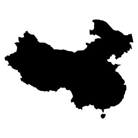 simplified: Black simplified flat silhouette map of China. Vector country shape. Illustration
