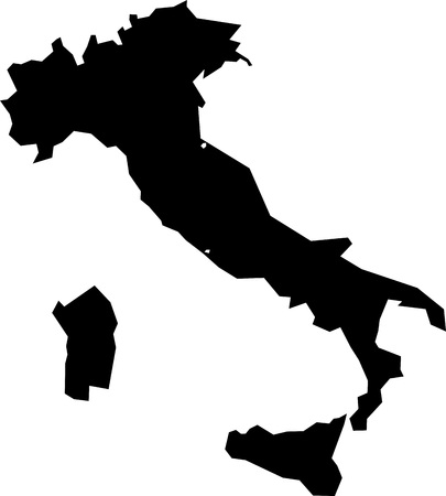 simplified: Black simplified flat silhouette map of Italy. Vector country shape.