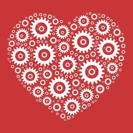 Heart shape mosaic of cog wheels. Looks like clockwork heart or love machine. White illustration on red background. Vettoriali