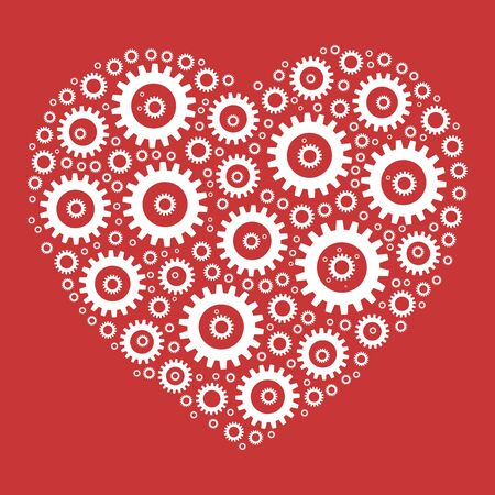 Heart shape mosaic of cog wheels. Looks like clockwork heart or love machine. White illustration on red background. Illustration