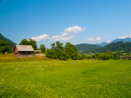 Summer hilly landscape withe green field, forests, blue sky and white clouds, Julian Alps, Slovenia