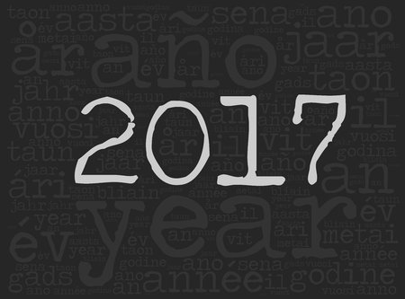 Word cloud 2017. The word Year is in many different languages. Typewriter font with light highlighted year number and dark background. Illustration