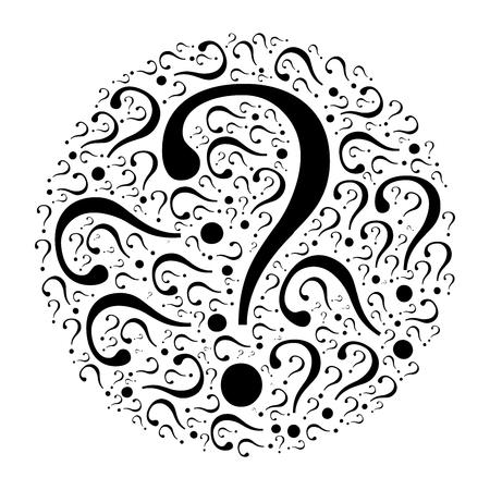Circle mocaic of question marks. Black vector illustration on white background. Quiz theme. Stock Illustratie