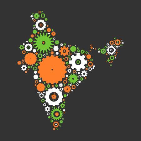 Inde carte silhouette mosaïque de pignons et d'engrenages. Illustration aux couleurs nationales sur fond gris foncé.