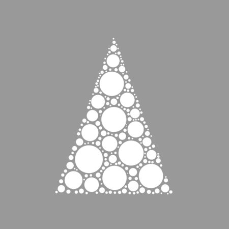 chrismas background: Simple abstract chrismas tree of dots, or circles, in a triangle shape. Looks like pyramyd of snow balls. White illustration on grey background.