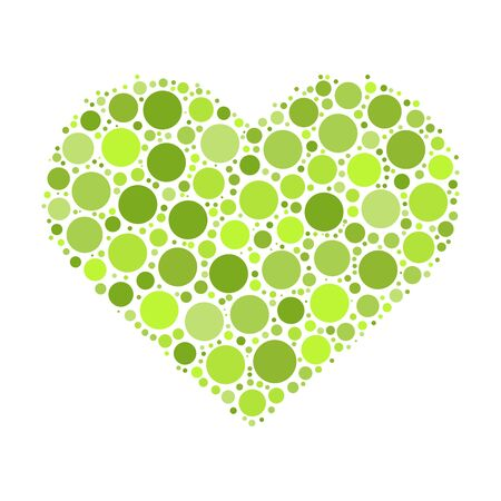 passion ecology: Heart mosaic of green dots in various sizes and shades.