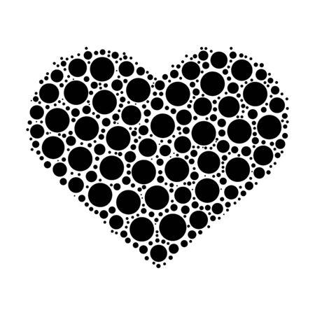 white heart: Heart mosaic of black dots. Vector illustration on white background.