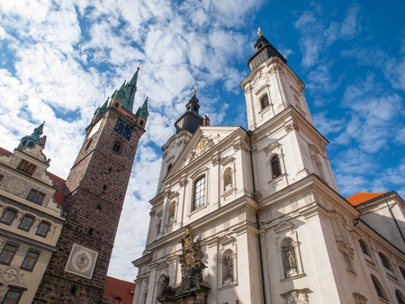 old town guildhall: Black Tower and The Church of Virgin Marys Immaculate Conception and St. Ignatus in Klatovy, Czech Republic
