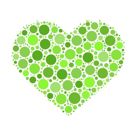 Heart mosaic of green dots in various sizes and shades. Vector illustration on white background. Illustration
