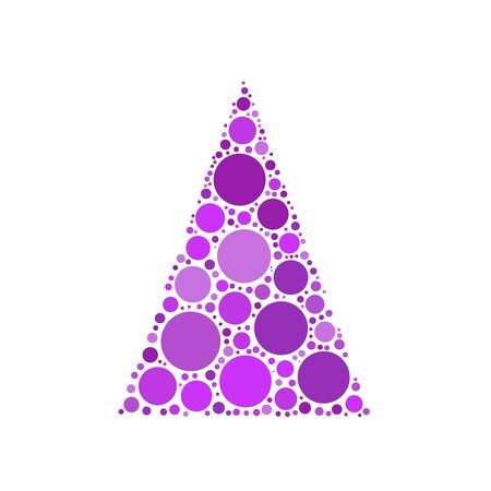 chrismas background: Simple abstract chrismas tree of dots, or circles, in a triangle shape. Violet illustration on white background. Illustration