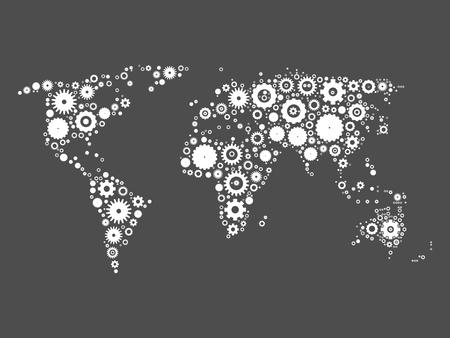 World map mosaic of white cog wheels on grey background. Industrial theme. Vector illustration.