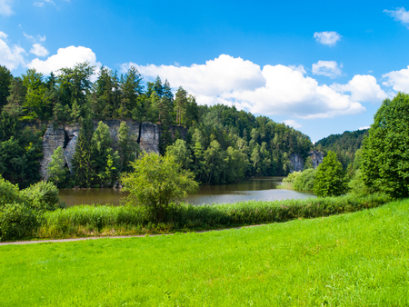 sandstone: Beautiful lake and sandstone towers in Bohemian Paradise, or Cesky Raj, on sunny summer day, Czech Republic Stock Photo