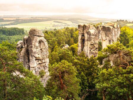 sandstone: Sandstone cliff in Bohemian Paradise, or Cesky Raj, in Czech Republic Stock Photo