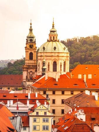 st nicholas cathedral: Robust baroque dome of St. Nicholas Cahtedral in Lesser Town of Prague, Czech Republic