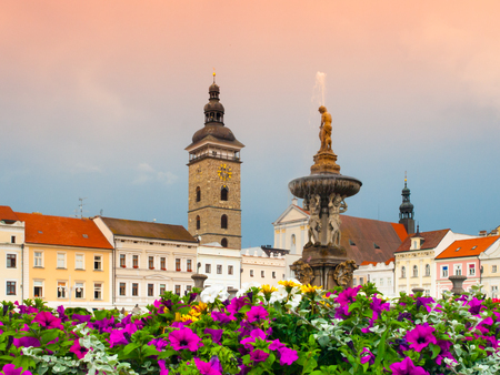 budweis: Black Tower and Samsons Fountain in Ceske Budejovice, Southern Bohemia, Czech Republic