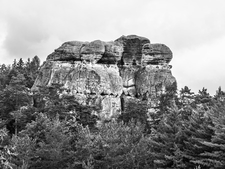 sandstone: Sandstone cliff in Bohemian Paradise, or Cesky Raj, in Czech Republic.