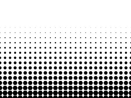 halftone: Abstract halftone texture of black dots in linear arrangement on white background. Horizontal gradient.