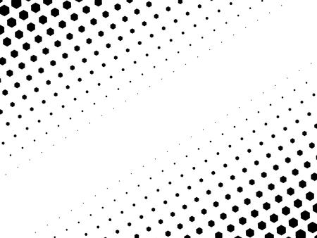 halftone: Abstract halftone texture of black dots in linear arrangement on white background. Two side diagonal gradient. Illustration