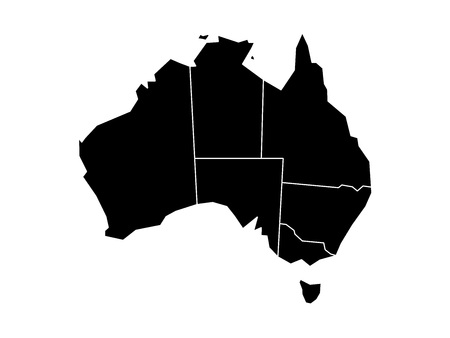 queensland: Blind map of Australia divided into states and territories. Black flat silhouette map on white background. Illustration