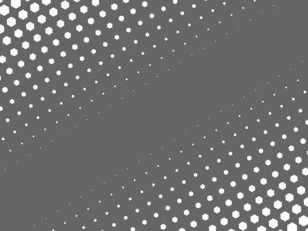 Resumen de medios tonos textura de puntos blancos en disposición lineal sobre fondo gris. Dos laterales gradiente diagonal. Foto de archivo - 63013298