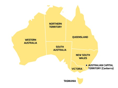 63013305 simplified map of australia divided into states and territories grey flat map with white borders and black labels