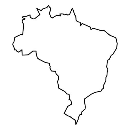 Simple contour map of Brazil. Black outline map isolated on white background.