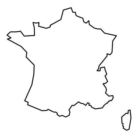 프랑스의 간단한 등고선지도입니다. 흰색 배경에 고립 된 검은 개요지도입니다.