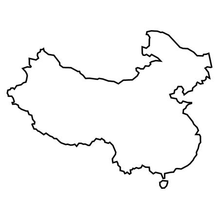Simple contour map of Peoples Republic of China . Black outline map isolated on white background 일러스트