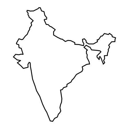 Simple contour map of India. Black outline map isolated on white background.