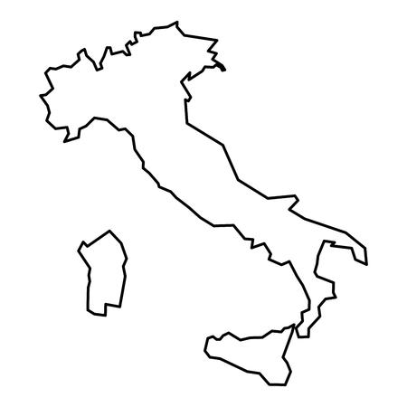 Simple contour map of Italy. Black outline map isolated on white background. Illustration