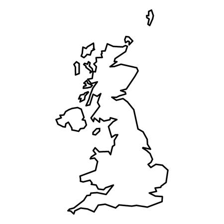 Simple contour map of United Kingdom of Great Britain and Northern Ireland. Black outline map isolated on white background.