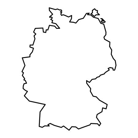 Simple contour map of Germany. Black outline map isolated on white background. Imagens - 64213299