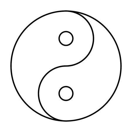 symbole de Yin Yang de phylosophie chinois décrit comment opposé et forces contraires peuvent être complémentaires, interconnectées et interdépendantes dans le monde naturel. contour noir sur fond blanc. Vecteurs