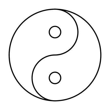Yin Yang symbol of Chinese phylosophy describes how opposite and contrary forces may be complementary, interconnected and interdependent in the natural world. Black outline on white background.