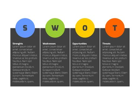strengths: SWOT Business Infographic Diagram, or SWOT matrix, used to evaluate the strengths, weaknesses, opportunities and threats involved in a project.