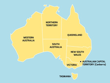64216881 simplified map of australia divided into states and territories grey flat map with white borders and black labels