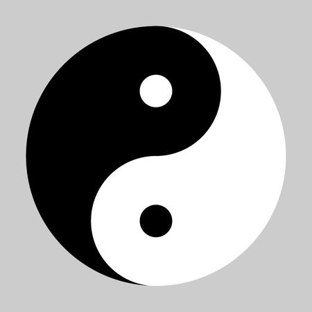 Yin Yang symbol of Chinese phylosophy describes how opposite and contrary forces may be complementary, interconnected and interdependent in the natural world. Black and white illustration on grey background.